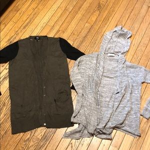 Sz S Cardigan Lot A&F & Olive Green Button Close